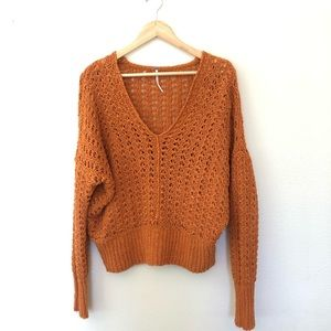 Free People Best Of You v neck sweater orange sz M